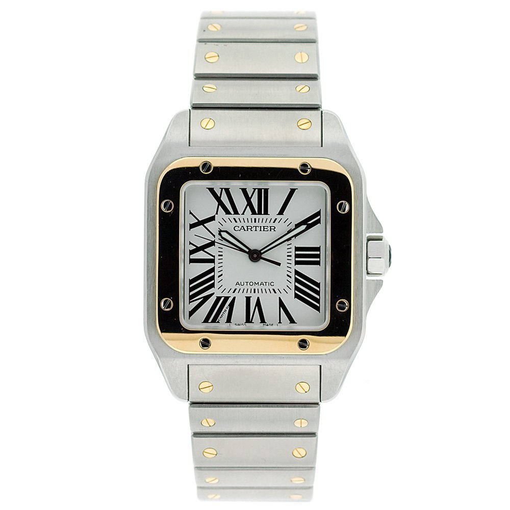 yellow watch stainless ladies cartier santos vintage watches gold tank steel cariter