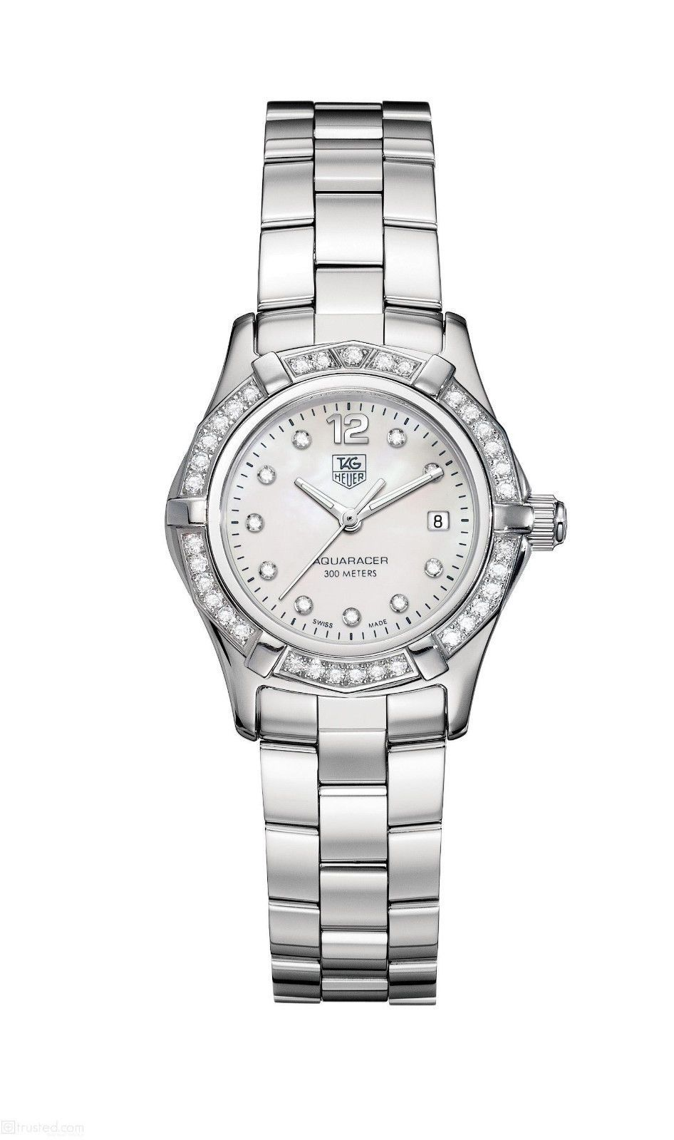 Tag heuer aquaracer diamond dial bezel ladies watch waf1416 ba0813 for Tag heuer women