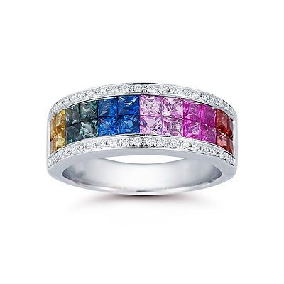 18ct White Gold 2.3ct Rainbow Sapphire 0.15ct Diamond Ring - Size N