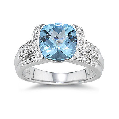 18ct White Gold 4ct Blue Topaz with 0.32ct Diamond Ring - Size N