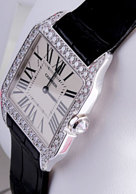 CARTIER Santos-Dumont Solid Gold & Diamond Ladies Watch WH100251
