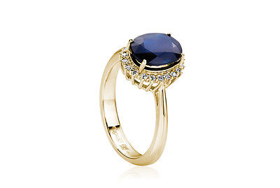 CLOGAU GOLD Royal 14ct Yellow Gold Diamond & Blue Sapphire Ring