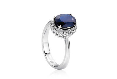 CLOGAU GOLD Royal 18ct White Gold Diamond & Blue Sapphire Ring