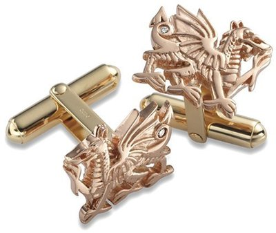 CLOGAU GOLD Welsh Dragon Gold & Diamond Cufflinks 9ct Gold - D002