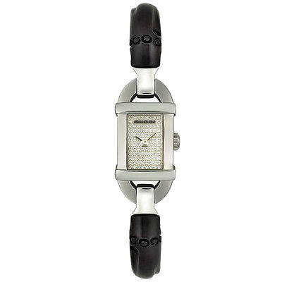 GUCCI  6800 Diamond Pave Dial Bamboo Ladies Watch YA068501