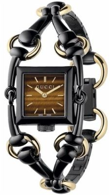 GUCCI Signoria Black & 18ct Gold Ladies Watch YA116518