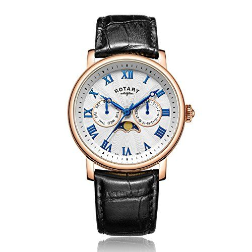ROTARY Rose Gold Quartz Moonphase Gents Watch GS00340/21