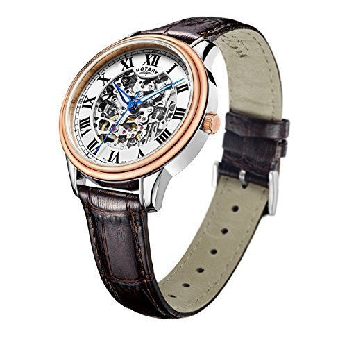 ROTARY Skeleton Rose Gold Automatic Gents Watch GS00655/01
