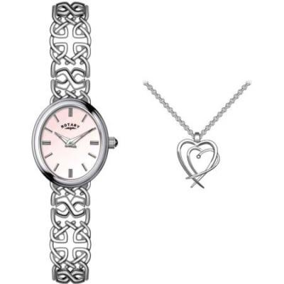 ROTARY Watch & Diamond Pendant Ladies Gift Set LB77893/NK/07