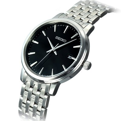 SEIKO 38mm Black Dial Stainless Steel Gents Watch SGEF89P1