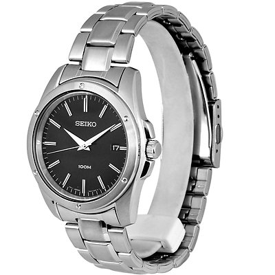 SEIKO 40mm Black Dial Stainless Steel Gents Watch SGEF81P1