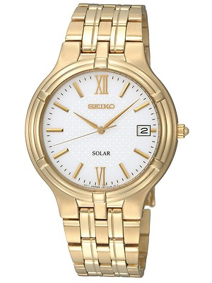 SEIKO Solar Powered Gold plated Gents Watch SNE030P1
