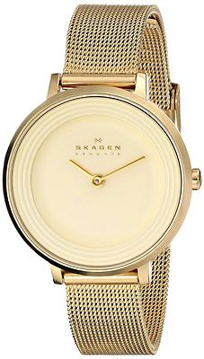 SKAGEN Ditte Gold Mesh Steel Ladies Watch SKW2212
