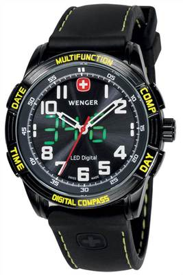 Wenger Nomad Yellow LED Compass Multi Function Gents Watch 70434